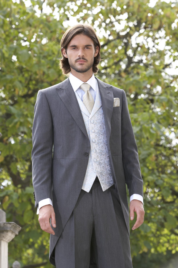 Light weight grey wool herringbone morning suit