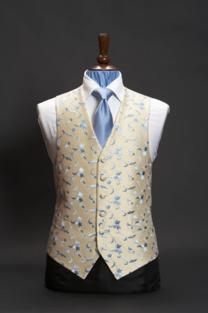 Cream silk waistcoat with sky blue floral swirl embroidery