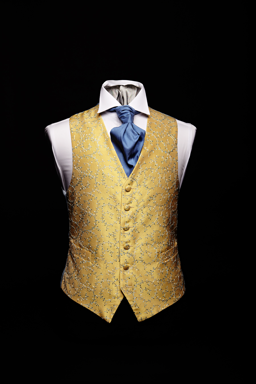 Yellow silk swirl embroidered waistcoat with blue embroidery