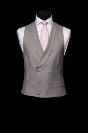 Dove grey double-breasted wool waistcoat