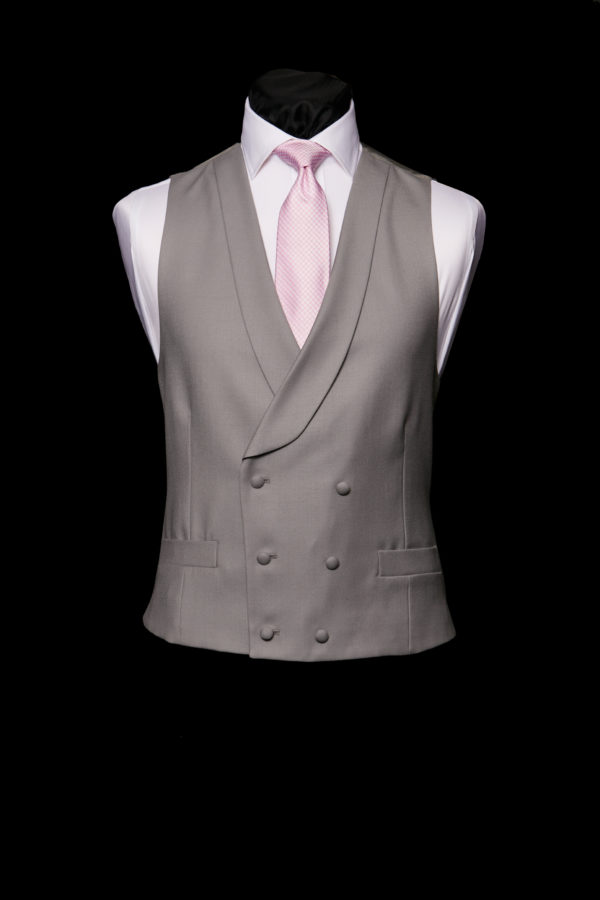 Grey wool double breasted waistcoat