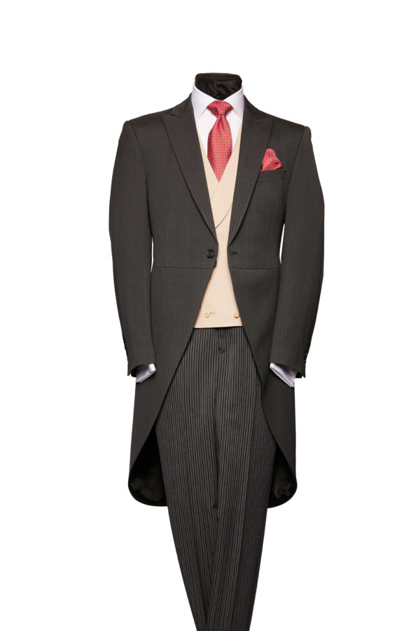 Charcoal grey light weight wool morning coat