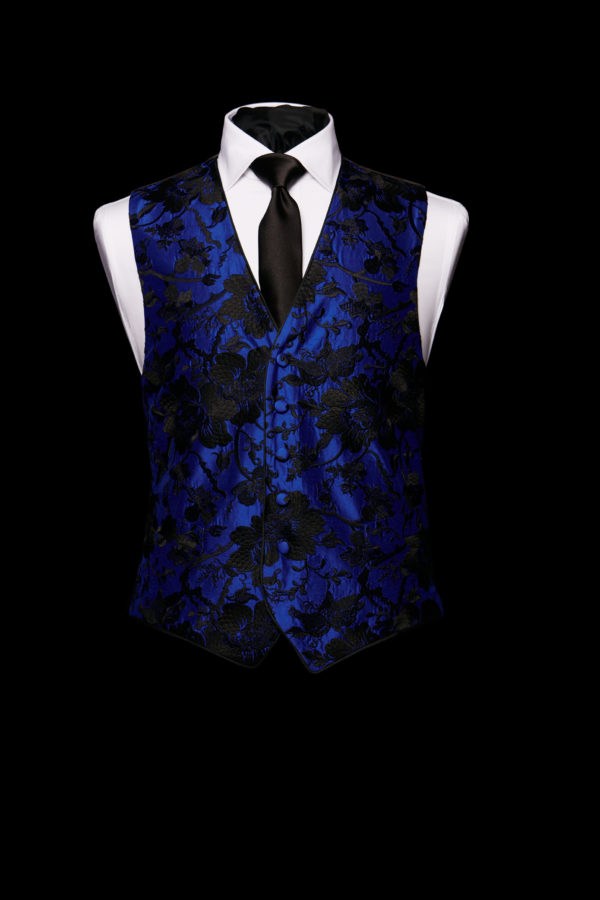 Electric blue silk base with black embroidery with black silk piping