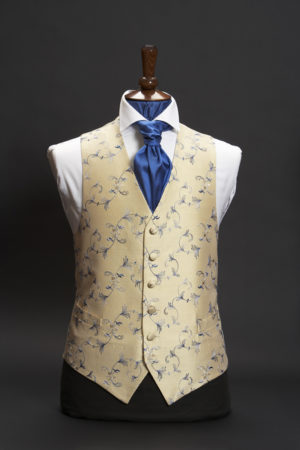 Cream silk embroidered waistcoat with blue vintage embroidery