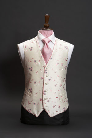 Ivory silk embroidered waistcoat with pink and grey embroidery and piping