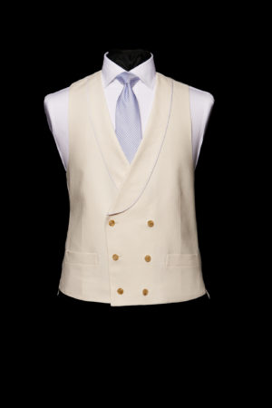 Ivory linen six button double-breasted waistcoat with piping
