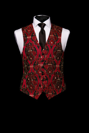 Red silk embroidered waistcoat with black and gold embroidery