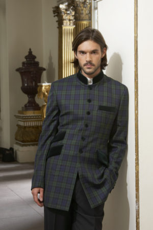 Black watch tartan wool Nehru jacket with velvet collar and pockets