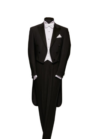 White tie evening tails three-piece wool suit with waistcoat