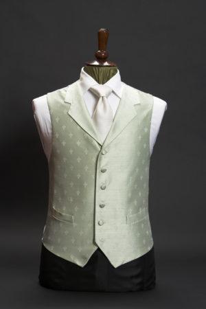 Mint green silk fleur de lis waistcoat with lapels