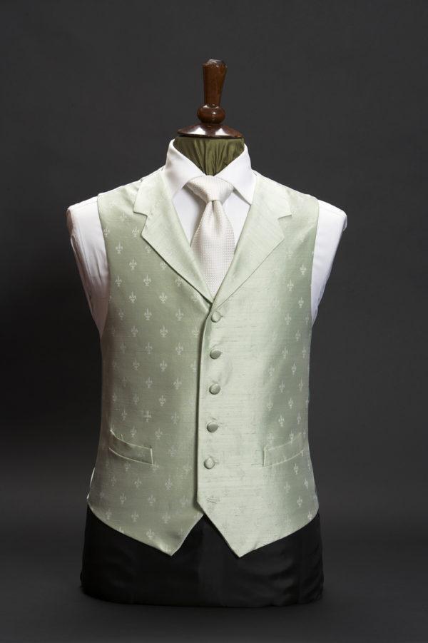 Light mint green silk fleur de lys waistcoat with lapels