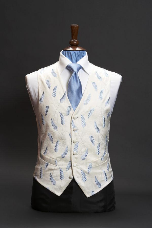 Ivory silk waistcoat with sky blue corn flower embroidery