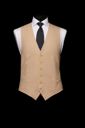 Fawn beige single-breasted six button wool waistcoat