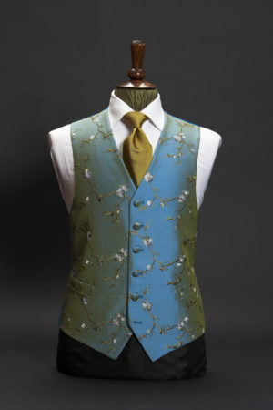 Turquoise blue silk embroidered waistcoat with gold, ivory and blue floral embroidery