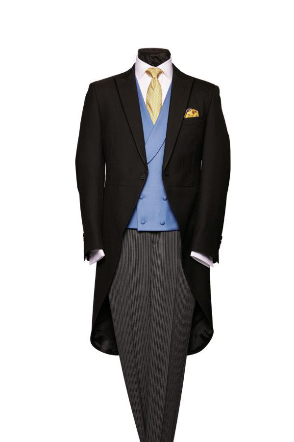 Black herringbone light weight morning coat with silk piping