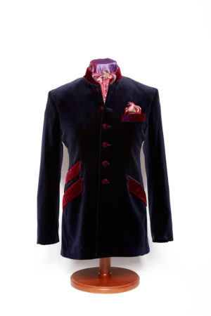 Navy blue velvet Nehru jacket with quilting