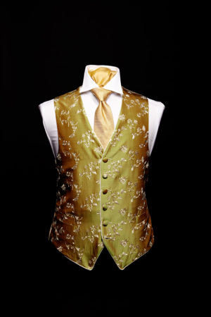 Green silk waistcoat with champagne embroidery and silk piping