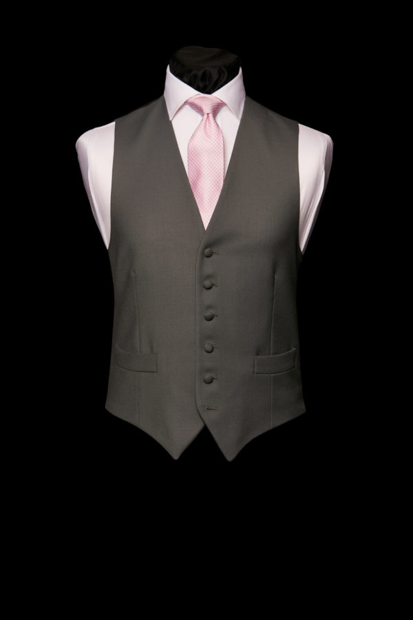 Dark grey single breasted wool waistcoat