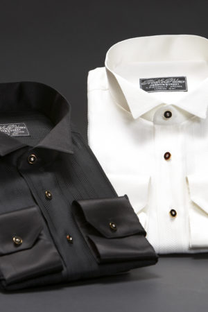 Silk herringbone wing collar dress shirt