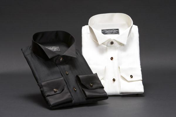 Ivory herringbone silk wing collar dress shirt