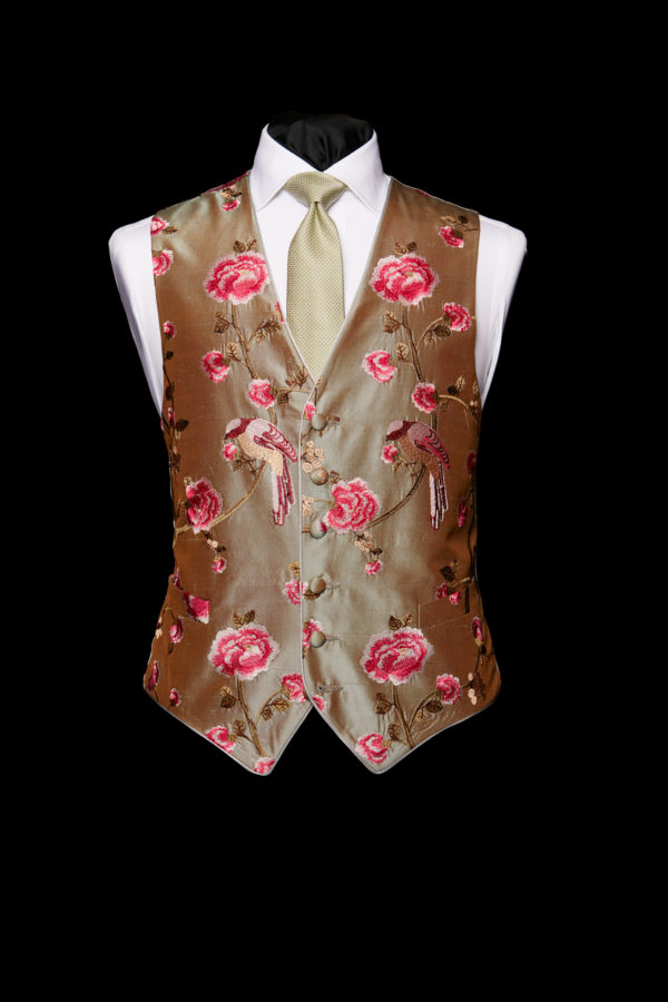 Green silk base with pink embroidery limited edition waistcoat with piping