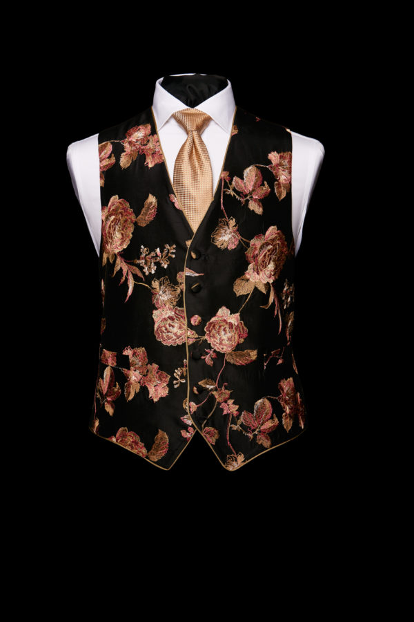 Black silk base limited edition rose and gold silk embroidered waistcoat with silk piping