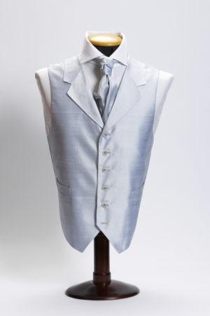 Ice blue silk waistcoat with lapel