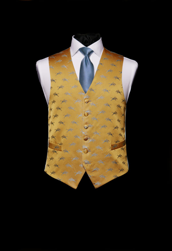 Gold silk waistcoat with blue horses
