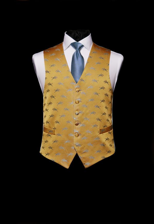 Gold silk waistcoat with blue horses