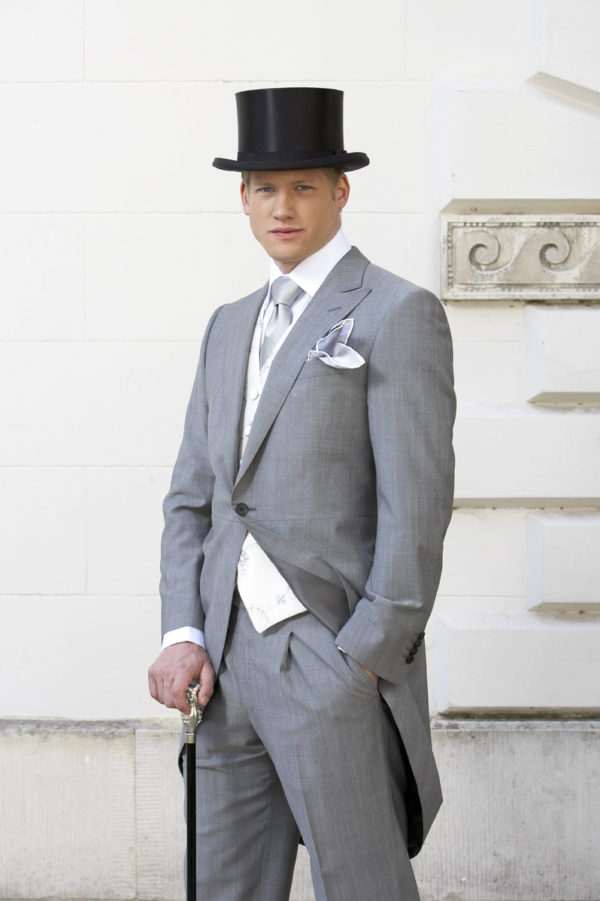 Light grey mohair and wool prince of wales morning suit