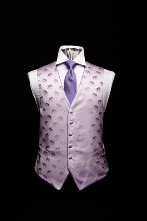 Lilac silk elephant waistcoat with purple silk piping