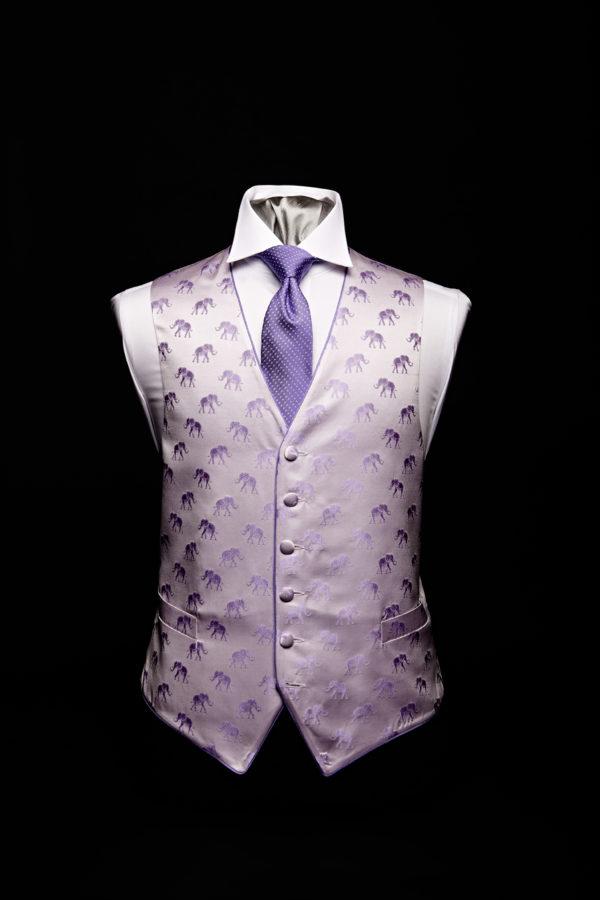 Purple silk elephant waistcoat with purple silk piping