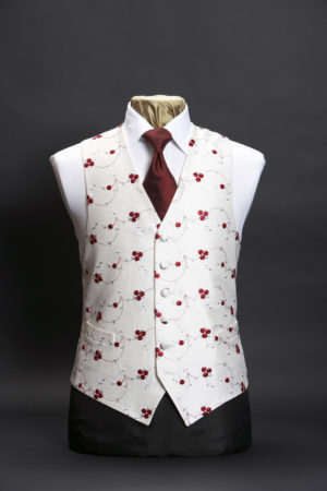 Ivory silk embroidered waistcoat with red embroidered cherries