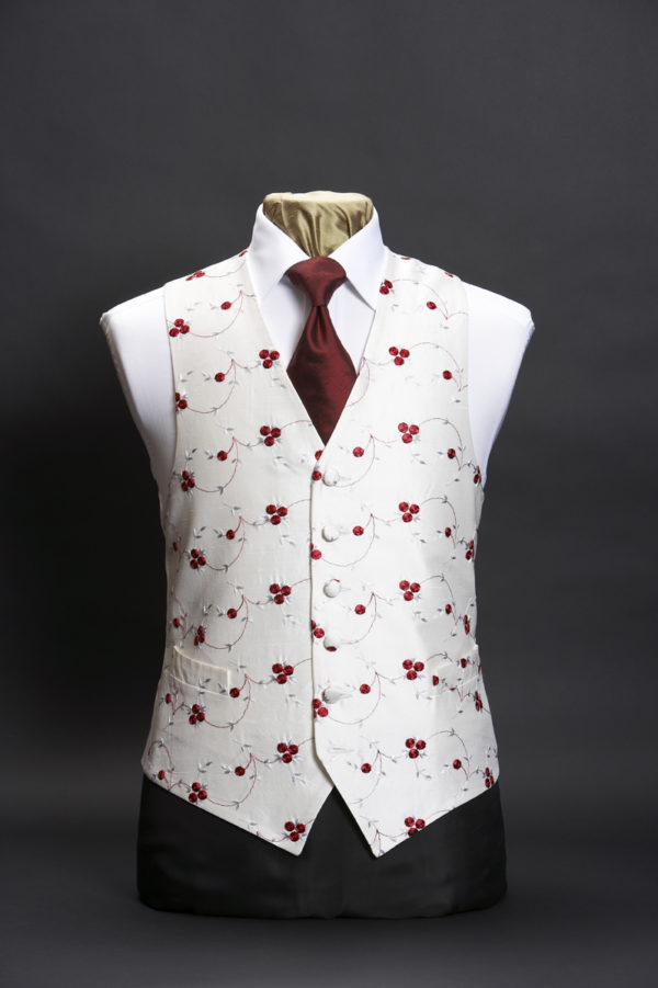 Ivory silk waistcoat with embroidered red cherries