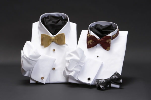 White superfine cotton marcella dress shirts with gold basket weave bow tie
