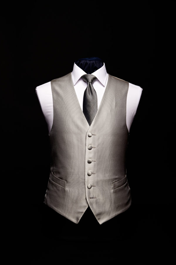 Silver silk basket weave waistcoat