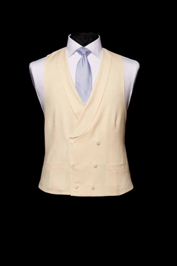 Ivory wool double breasted waistcoat