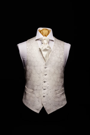 Ivory silk roses waistcoat with silk piping