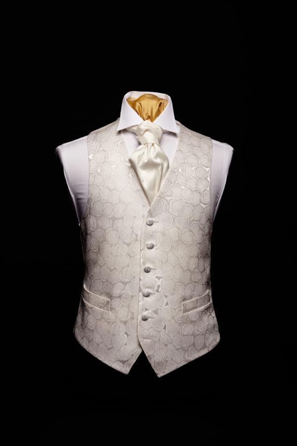 Ivory silk roses waistcoat with silk pipi