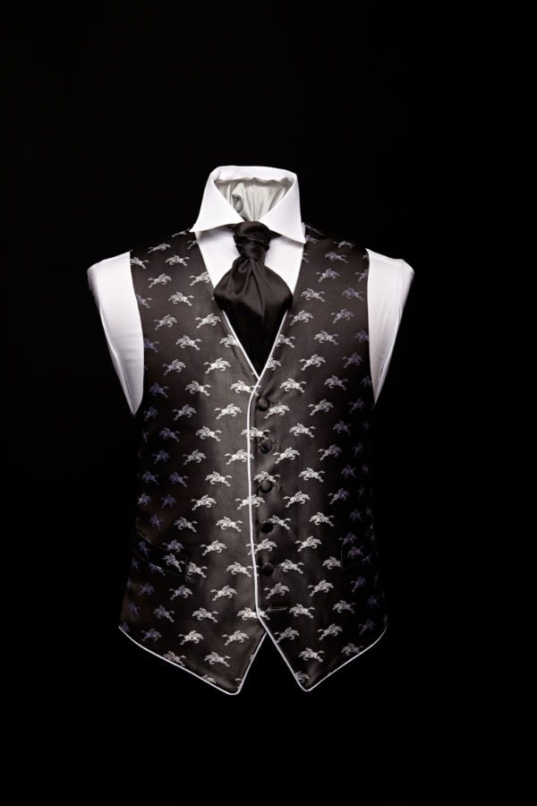 Black silk waistcoat with silver horses and silver silk piping