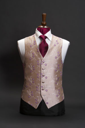 Muted pink silk embroidered waistcoat with lilac flowers