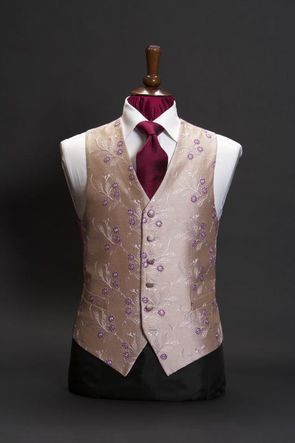 Light dusky pink silk embroidered waistcoat with lilac flowers