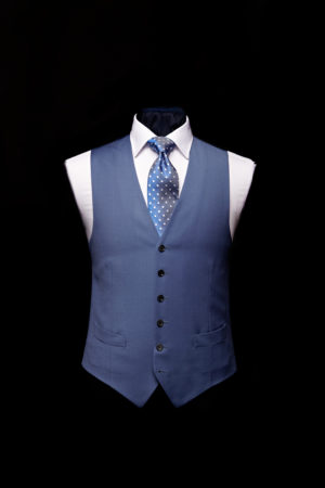 Denim blue wool gaberdine single breasted waistcoat