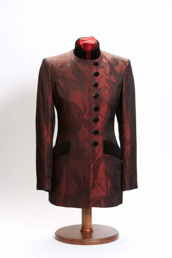 Ladies bespoke red silk banana leaf Nehru jacket with black velvet pockets and buttons