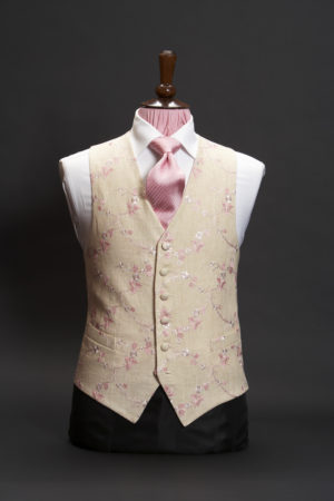 Cream linen waistcoat with pink and ivory embroidery