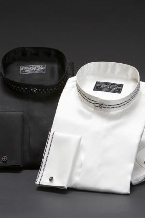 Silk mandarin Nehru collar dress shirts