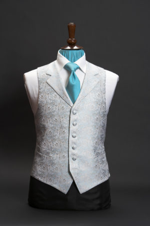 Pale turquoise blue silk jacquard waistcoat with lapels