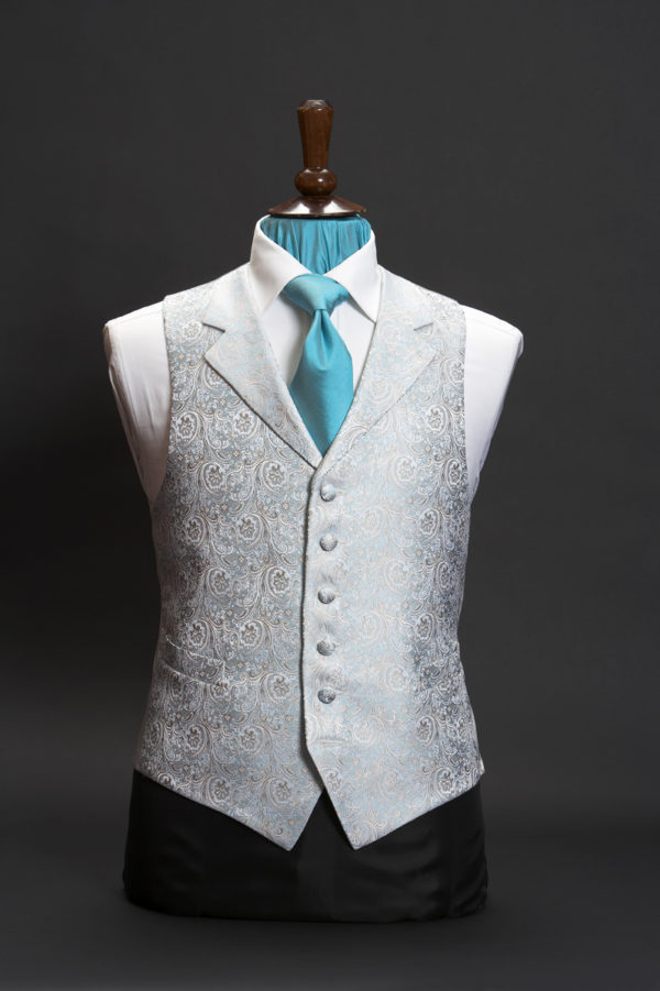 Turquoise and blue silk jacquard damask waistcoat with lapels