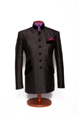 Black silk embroidered Nehru jacket with velvet collar and pockets