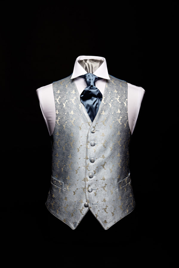 Silver silk roses waistcoat with ivory and cream silk piping